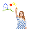 ID 4452438 | Cute little girl drawing house with brush | Foto stockowe wysokiej rozdzielczości | KLIPARTO