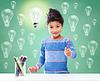 색상 연필 드로잉 행복 학교 소녀 | Stock Foto