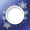 Winter-Hintergrund, Rahmen mit 3d verzierten Schneeflocken