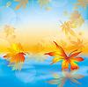 가을 물, 자연 배경에 나뭇잎 | Stock Vector Graphics