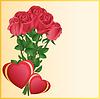 Grußkarte mit zwei Herzen und rote Rosen