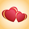 Grußkarte mit zwei rot - goldenen Herzen