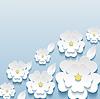 Schöne trendige Tapeten mit 3D-Blumen sakura | Stock Vektrografik