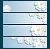 Satz von Banner mit 3d stilvollen Blumen sakura