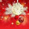 新的一年的背景与黄金钟 | 向量插图