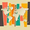 Weltkarte Papier 3D-Retro-Hintergrund