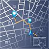Mit Tablet für Straßenkartennavigation