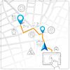 Векторный клипарт: Использование планшета для уличного карте навигации