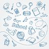 Векторный клипарт: Школа каракули на ноутбук фона страницы
