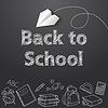 Векторный клипарт: Снова в школу текст конечного каракули