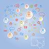 Векторный клипарт: Использование таблетка для концепции социальной сети