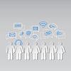 Векторный клипарт: Глобальный киберпространство социальная сеть концепция