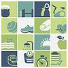 Векторный клипарт: Установить Фитнес-и велнес-клуб иконки
