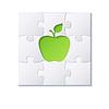 Rätsel und grünen Apfel-Konzept