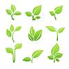 Векторный клипарт: Зеленый росток значок набор символов