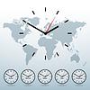 Векторный клипарт: карта мира и мирового времени
