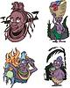 Comic afrikanischen Ureinwohner Frauen