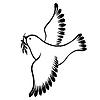 Dekoracyjny sylwetka lecącego gołębia pokoju | Stock Vector Graphics