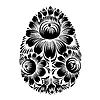 Декоративные цветочные силуэт Пасхальное яйцо | Векторный клипарт
