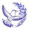 Цветочный декоративный орнамент колибри в полете | Векторный клипарт