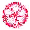 Цветочный декоративный орнамент красный гибискус | Векторный клипарт