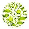 Dekoracyjny krąg gałęzi zielonej herbaty z kwiatami | Stock Vector Graphics