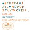 Hand gezeichnet Buchstaben, Farbe Alphabet und Wünsche Glück