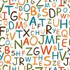 Nahtlose Muster von Hand gezeichneten Buchstaben, abstrakte alphab