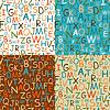 Set von nahtlosen Mustern von Hand gezeichneten Buchstaben
