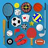 Flache Symbole bündeln. Sport-und Erholungskonzept