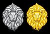 Silber und Gold Löwenköpfen