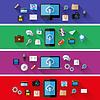 Set von Web-und Business-Konzepte. Flaches Design
