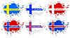 Skandinavischen Flaggen als Flecken