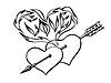 flammenden Herzen, Herzen mit einem Pfeil durchbohrt