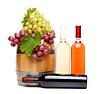 Fass, Flaschen Wein und reife Trauben auf Faß | Stock Foto