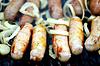 BBQ viel Wurst mit Zwiebel | Stock Foto