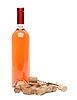 Flasche Wein, Korken und Korkenzieher | Stock Foto