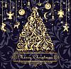 Weihnachtskarte mit goldenen Weihnachtsbaum