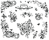 Black and white vintage floral design   Stock Vector Graphics