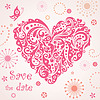 Lustige Grußkarte mit abstrakten rosa Herz