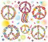 Sammlung von Friedensblumensymbol