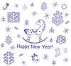 New Year dekorative Grußkarte mit wenig Pferde