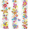 Funny seamless floral borders   Stock Vector Graphics