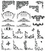 Set of vintage floral caption (black and white)   Stock Vector Graphics