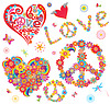 Set of peace flower symbol and floral hearts   Stock Vector Graphics