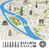 ID 4168626 | Abstrakt Stadtplan mit Silhouetten von Häusern | Stock Vektorgrafik | CLIPARTO