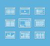 Verschiedene Web-Browser-Icons mit Seitenvorlagen eingestellt