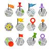 Abstrakt Stadtplan mit Symbolen Sammlung. Design