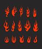 Verschiedene abstrakte Flamme Silhouetten Sammlung