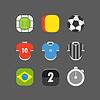 Fußballspiel-Ikonen. Flaches Design